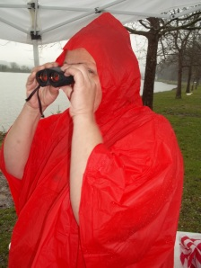 Little red riding hood (Momma) checking out the boats.