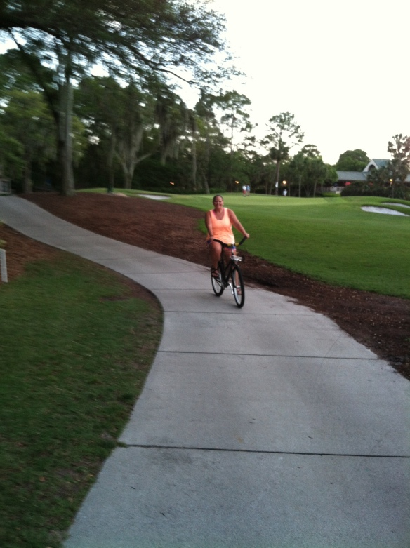 bike riding on the golf course